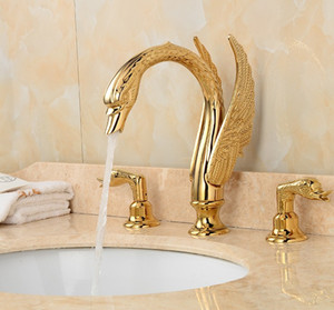Soild Copper Gold Finish torneira Banheiro Golden Swan Forma Bacia Tap Handle dupla deck Monte