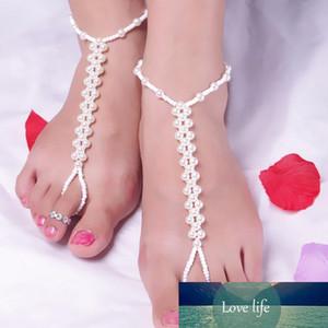 Мода Имитация жемчуг Шарм Браслеты ножные для лета женщин Foot цепи бифштексов бисера ювелирных изделия пляж Barefoot Сандал ножного браслета