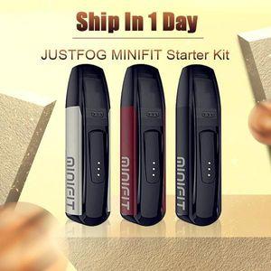100% originale Genuine Justfog Entry Minifit Entry Integrated Vape Kit 370 mAh Ventilazione compatta Pod con codice di sicurezza della batteria micro