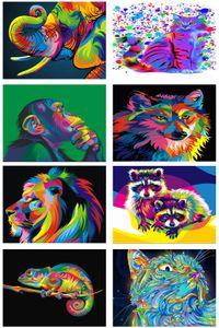 5D Diamond DIY Animal Cat Dog Lion Monkey Elephant Wolf Raccoon Embroidery Cross Stitch Mosaic Full Rhinestone Wall Art Canvas Home Decor
