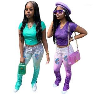 Luva de Split Calças Moda slim 2PCS Set Designer Vneck Womens Dois Pants Pedaço Gradiente Stacked Curto
