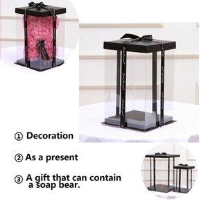 NOUVEAU Transparent vide Coffret Cadeau pour Artificial Ours en peluche fleur rose cadeaux Boîte femmes Ours en peluche cadeau