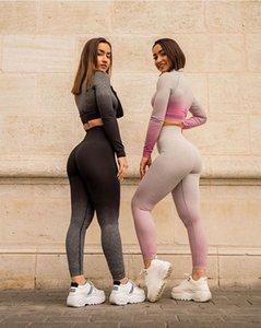 Frauen Yoga Outfits Gym Hanging-gefärbt Sport Schnell trocknend Top Seamless Yoga Pants Yoga-Klagen Schwarz, Rosa, Weiß