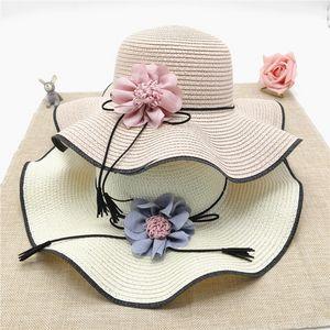 In stile coreano larga tesa spiaggia d'estate il sole di 10CGR donne fiore ondulato Sun cappello di paglia cappello di paglia marea mare di viaggio