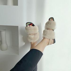 NOUVEAU mode de vrais cheveux de lapin Sandales d'été ouvert doigter rafraîchissant chaussures femmes semelle plate noir Boucle texture légère polyvalente Slipper