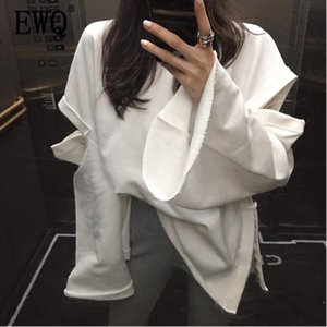 [EWQ] 2020 Spring Summer Round Collar New Style Batwing Sleeve White Patchwork Pullvoers Casual Loose Sweatshirt Women AD321