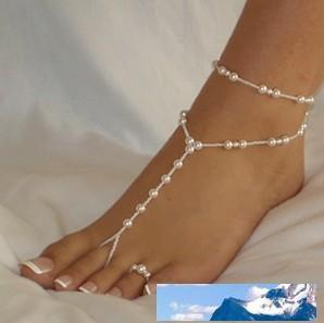 Hotsale HANDMADE glass beads NOT PLASTIC sandbeach barefoot sandals, beach wedding bridal jewelry Elastic size 40pcs lot FREE SHIPPING