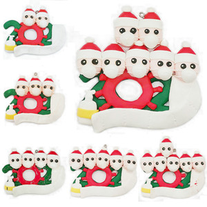 2020 New Christmas Polymer clay Ornaments Gift Survivor Family Hang Decoration Snowman Pendant With Face Mask Hand Sanitizer Xmas