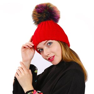 Women Warm Pom Pom Hats Thick Fleece Lined Colorful Faux Fuzzy Fur Rainbow Winter Hat for Men Ladies Kids Cable Knitted Cap Canada