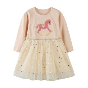 Jumping Meters 2-7T Baby Girls Long Sleeve Dress for Autumn Winter Children Animal Mesh Stars Party Tutu Kids Girls Dresses