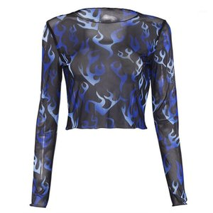 Fashion Women Mesh Sheer Top Long Sleeve Floral Printed Transparent T-Shirt Crop Tops Ladies Clothes1