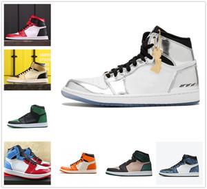 رجل السامي Jumpman 1 أحذية كرة السلة شيكاغو تو أحذية Obisidian براءات الرياضة المصور بلا خوف حذاء رياضة المرأة مع صندوق S1