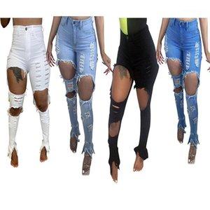 Cepler ile yüksek Bel Skinny Düğme Fly Jeans Kadınlar Katı Renk Jeans Bayan Tasarımcı Delikler Jeans