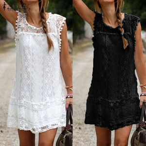 Vestidos 2020 Summer Dress ZANZEA Women Casual Solid Short Sleeve Slim Lace Mini Dress Office Ladies Sexy White Plus Size