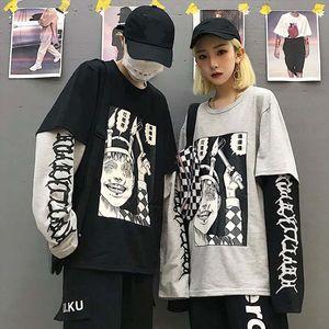Harajuku Sweatshirt Women Patchwork Unisex Pullovers Print Japanese Comics Jumpers Fake 2 Pieces Shirt Woman Streetwear