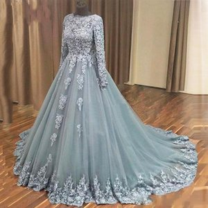 2021 Dantel Abiye ile Uzun Kollu FDor Müslüman Kadınlar Çiçekler Aplike mücevher Fermuar Prom Parti Resmi elbise Tren Plus Size Ucuz