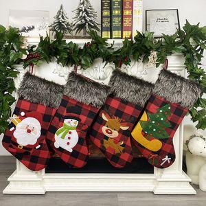 Рождественские чулки Санта снеговика Xmas Висячие чулки украшение чулок рождественские чулки конфеты подарочные пакеты 200pcs T1I2225