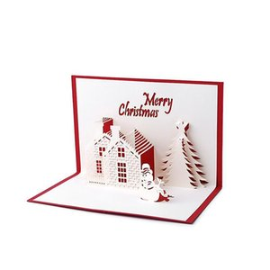 Card Christmas Cottage Party 3d Holiday Handmade Gift Up Supplies Cards Castle Greeting Greeting Christmas Thanksgiving hairclippersshop jD