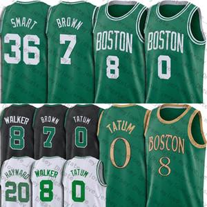 BostónCelticsJersey Jayson Jaylen Tatum Brown jerseys Kemba Walker Jersey Larry Bird Gordon Marcus camiseta de baloncesto inteligente Hayward