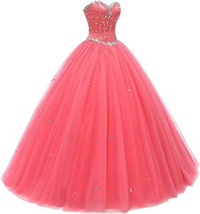 Women's Sweetheart Quinceanera Dresses Ball Gown Tulle Long Prom Dress Lace Up Party Graduation Dress