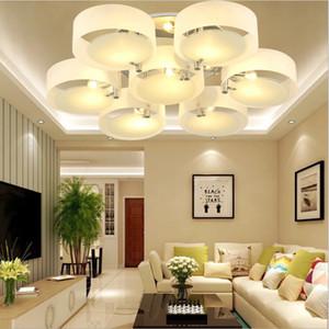 De techo moderna iluminación luces de iluminación redondo del círculo de acrílico del techo de la lámpara de la sala dormitorio principal Deco Lustre E27 hierro cromado Bombilla LED