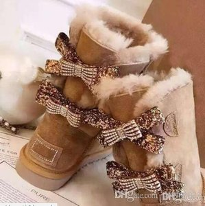 bottes de neige australienne chaussures en coton femmes de la mode chaud tube central bowknot chaussures de neige de forage