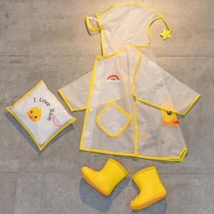 Çocuk ceket kız bebek 1-3 yaşında 2 anaokulu Cloak vites çizmeler yağmur çizmeleri büyük bir şapka saçak öğrenciler yağmur dişli büyük çocuklar set panço