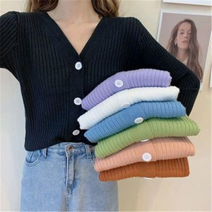 Women's Sweaters Autumn Winter 2020 Cardigans Single Breasted V-Neck Casual Sweaters Female Solid Knitted Jackets Jumpers PZ3579