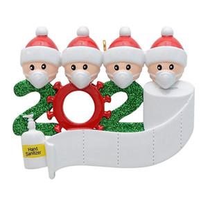 2020 Quarantine Weihnachten Geburtstage Partei-Dekoration-Geschenk DIY Segen Weihnachtsbaum Sankt mit Maske Anhänger Dekor Familie Ornament HHA1554