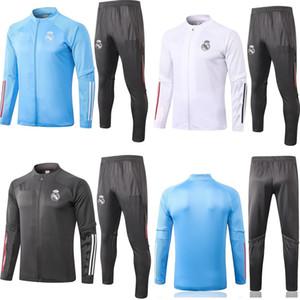 2020 2021 kit adulto Giacca da Calcio maniche lunghe Real Madrid completa chiusura lampo calda uniformi tute da calcio 20 21 calcio tuta cappotto