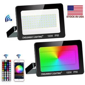 Us stocks + 100W RGB Warm Cold White LED Floodlights Outdoor Lighting LED Flood Light 44Key RF Remote Controller Bluetooth APP