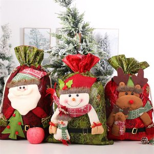 New Christmas Gift Bag 3D Storage Snowman Santa Reindeer Navidad Party Bags Handbag Kid Decoration Large Year Candy Gifts Claus Irvqw
