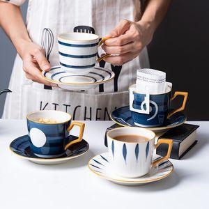 2-piece dipinto a mano in ceramica smaltata tazza di caffè Set con piatto di stile giapponese e di stile giapponese colazione pomeriggio tazza Cup