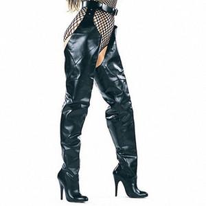 New Fashion Runway Frauen Taille mit Gürtel Schenkel-hohe Stiefel Schnalle High Heels Stiletto Schuhe Sexy Dame-Partei-Hosen Stiefel Mujer iSfq #