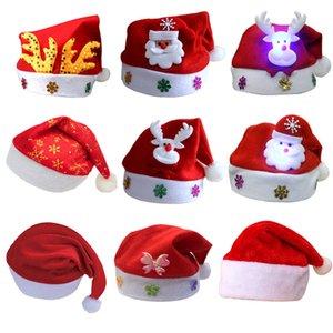 Chapeau de Noël LED Chapeau de Noël lumineux Adulte Enfants Père Noël rouge Chapeaux Fête de Noël Cosplay Chapeaux DHB1014
