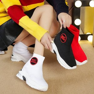 Hot Breathable Knitted Internal increase Sneakers Women 2020 New Solid Wedge Sock Shoes Woman Thick Bottom High Top Shoes Female