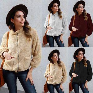 Cardigan Fuzzy Hoodies Frauk 20FW Frauen Hoodies Tops Fashion Langarm Solid Color Stehkragen Zipper