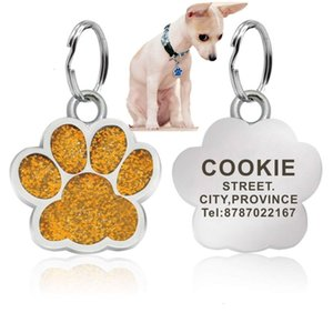 Pet Dog ID Tag Collar Personalized Engraving Stainless Steel Dog Cat Name Tags Accessories Pendant Nameplate With Keyring