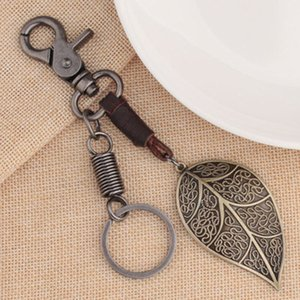 Automotive interior accesories Cowhide leaf keychain Vintage pendant for car