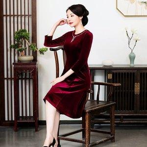 uvkqS nozDP Tang banquete de comprimento médio 2020 e inverno nova high-end longa cheongsam vestido de saia mãe casamento Yuyun festiva veludo mother-in-law Au