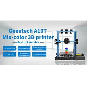 GT2560 제어 보드와 Geeetech A10T 데스크탑 3D 프린터 믹스 컬러 인쇄는 인쇄 필라멘트 감지 220 * 220 * 250mm를 다시 시작