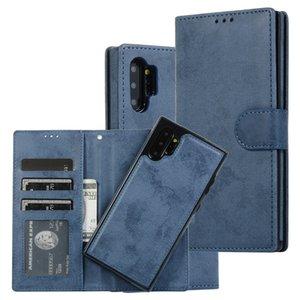 Tirón del cuero retro carpeta de la tarjeta del caso para la galaxia de Samsung S20 S10 Ultra S9 S8 Nota 10 9 8 Plus soporte magnético extraíble cubierta del coche