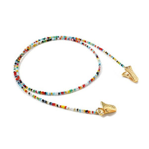 Simple Women Glasses Snake Mask Clip Chain Strap Beaded Sunglasses Silver Clips Face Necklace Colorful Eyewear Jewelry Gold For Nmfne