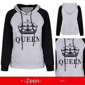 maglione della lettera di bF1MQ Donne Re Regina Donne RE maglione lettera QUEEN paio paio
