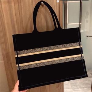 حار 42 ملليمتر الكلاسيكية الأزرق حقيبة تسوق أسود التطريز قماش كتاب حمل جودة عالية حمل حقيبة حقيبة يد الإناث حقيبة الكتف
