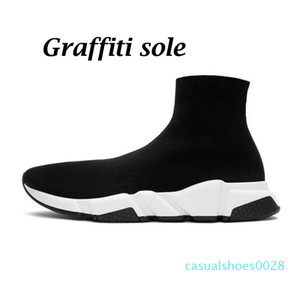 sock shoes speed trainer sneakers Triple White Black Graffiti beige clearsole womens mens chaussette fashion casual shoe platform 28c