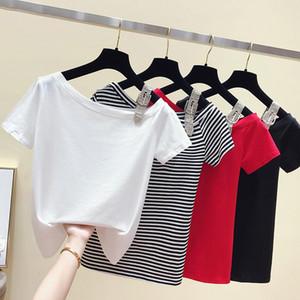 Venta caliente gkfnmt la camiseta del estilo del verano de Corea de la raya vertical del cuello T de manga corta de algodón ahueca hacia fuera la camisa de te Tops 2020 ropa de las mujeres