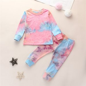 Home clothing warm clothing autumn clothing 2020 children's suit rib knit tie dye pajamas set long sleeve T-shirt + pants printing home
