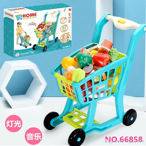 Kitchen Toy Shopping Cart Set Pretend Play House Plastic Cutting Simulation Fruit Vegetables Mini Food Girls Creative Toys