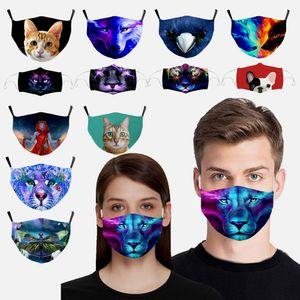 Модная моющаяся маска для лица Многоразовая шелковая шелковая хлопковая мультфильм 3D печать PM2.5 респиратор пылезащитный ультрафионеразненные беговые защитные маски